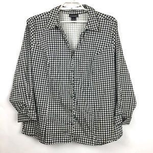 Lane Bryant Houndstooth Long Sleeve Shirt Size 24